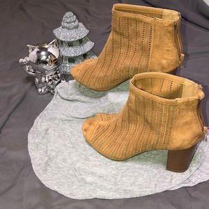 Beige open toe heeled boots